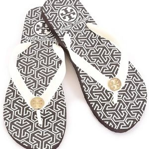 Tory Burch basic Flip Flops white and brown Size 8